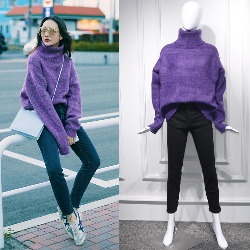 Star King Gull with Purple Mohair Grabbed Sweater High Collar Lazy Wind Long Pullover Loose Thick Turtleneck Women Sweaters
