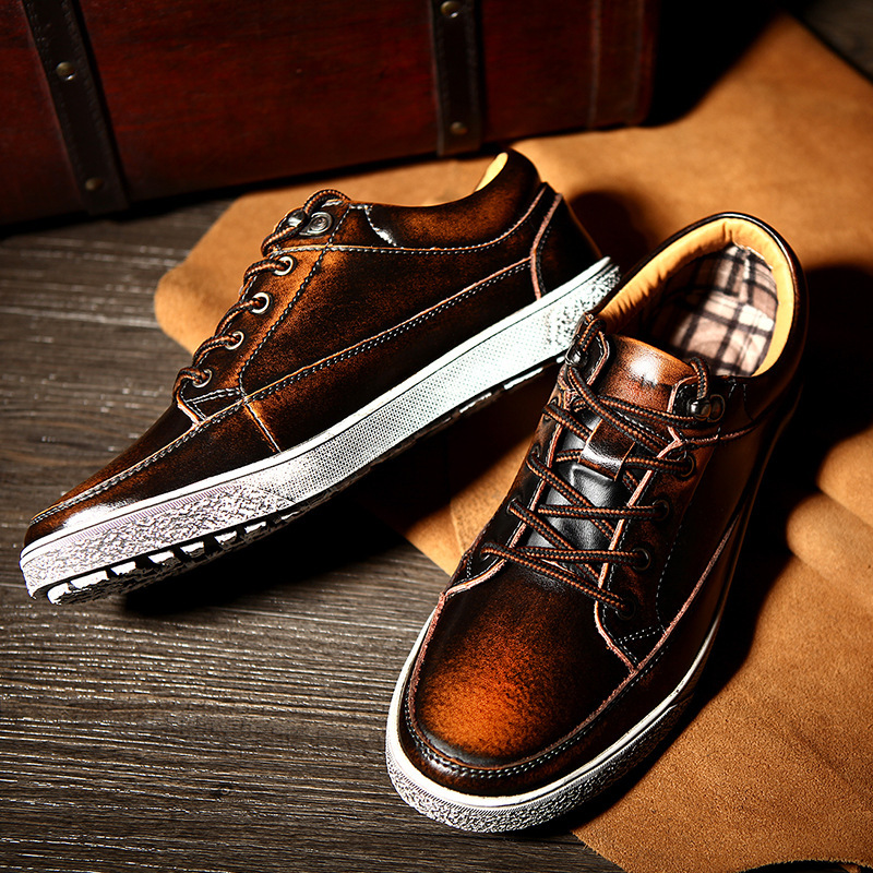0fa3010402338f ... High Quality hot sale men vintage genuine leather shoes washing  distressed men s fashion flat shoes lace ...