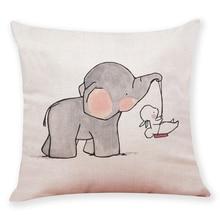 купить Cushion Cover Gift Cute Little Elephant Pattern One side Printed linen Sofa Car Home Decorative Throw Pillow Case Cojines дешево