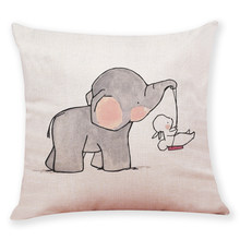 Cushion Cover Gift Cute Little Elephant Pattern One side Printed linen Sofa Car Home Decorative Throw Pillow Case Cojines(China)