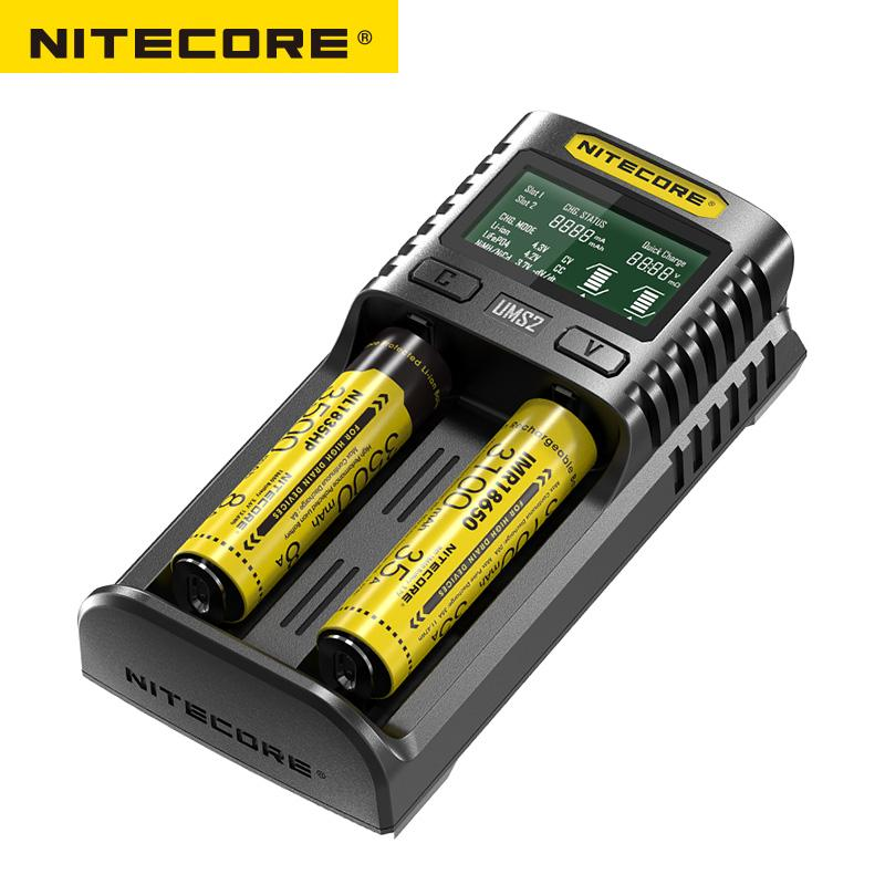 NITECORE UMS2 Intelligent 2- Slot QC Fast Charging Current Multi - Compatible USB Charger