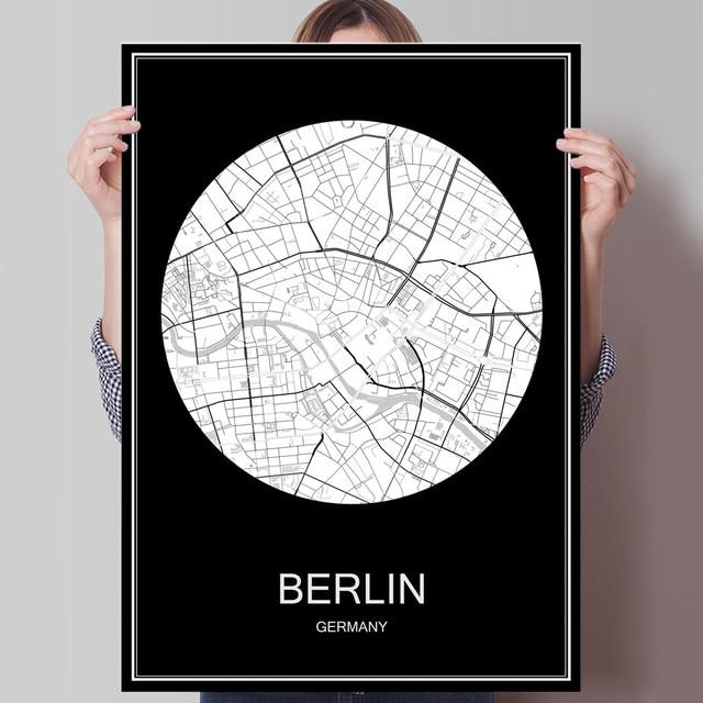 Carte Allemagne Imprimer.1 8 Monde Ville Carte Berlin Allemagne Imprimer Affiche Impression Sur Papier Ou L Autocollant De Mur De Toile Pour Bar Pub Cafe Salon Maison