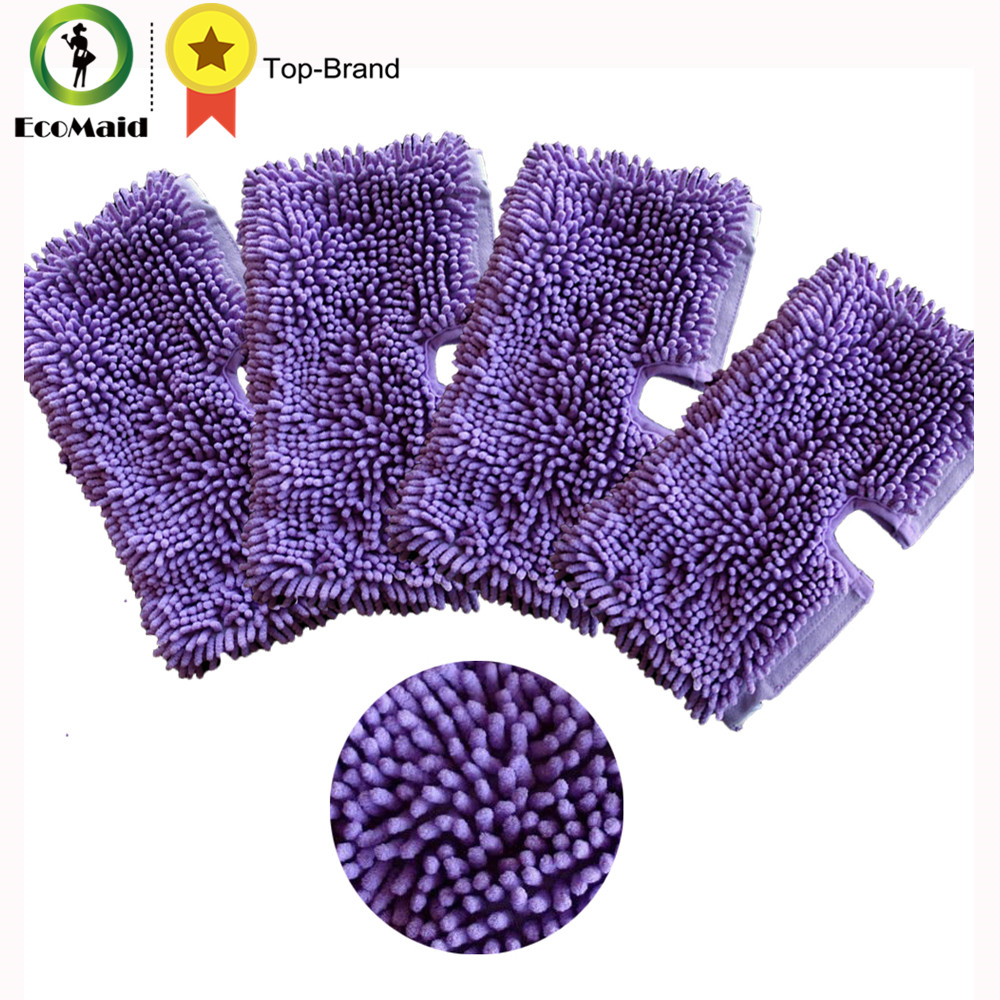 4pcs Purple Microfiber Cleaning  Mop Pads for Shark Floor Steamer  Cleaning Pads for Shark S3550 S3501 S3601 S3901 Replacement 4 pcs white microfibre steam mop cleaning floor washable replacement pads compatible for x5 h20 series dust cleaner part