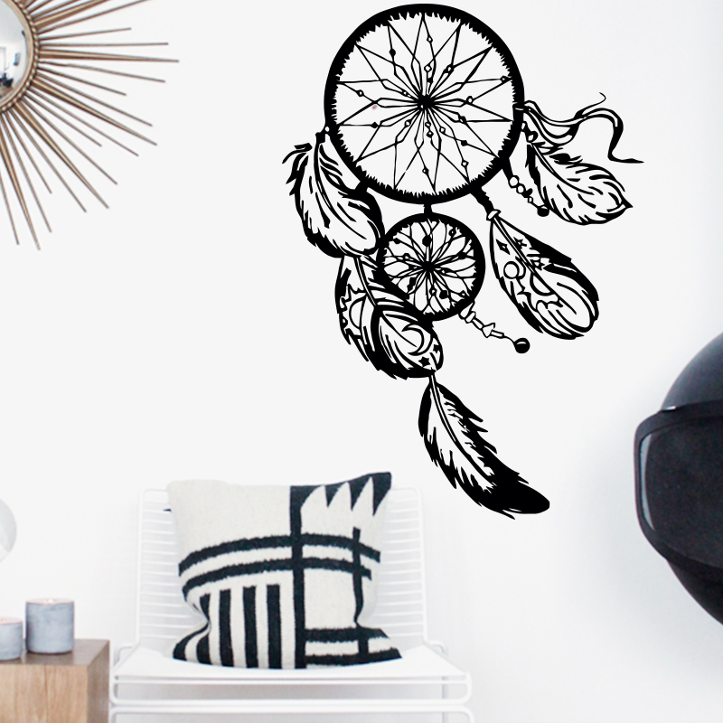Art Design Dream catcher vinilo etiqueta de la pared decoración para el hogar plumas noche símbolo indio Decal dormitorio salón Dream catch
