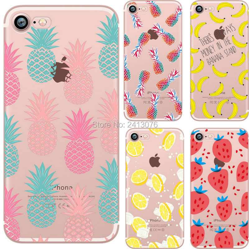 best service d9c0a 81c8c Summer fruit Pineapple watermelon banana lemon strawberry Clear soft  silicon TPU cover For iphone 7 7plus 5S SE 6 6S 6plus case -in Fitted Cases  from ...