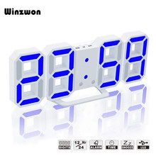 Creative 3D Table Clock LED Display Digital Alarm Clock Modern Snooze Night Clock Home Office 12/24 Hours Electronic Desk Clock(China)