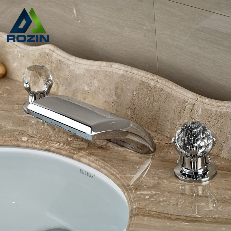 Luxury Widespread two cristal handles Basin Mixer Taps Deck Mounted Chrome Brass Bathroom Waterfall Faucet