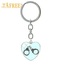 TAFREE Handcuffs Charms Key Chain Ring Romantic Heart Pendant Shackles Image Lovers Keychain Men Women Jewelry HC10(China)