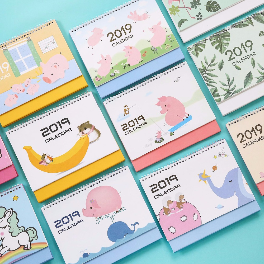 Honey 2019 Cute Unicorn Pig Desk Calendar Diy Cartoon Large Table Calendars Daily Schedule Planner 2018.09~2019.12 Delicacies Loved By All Office & School Supplies