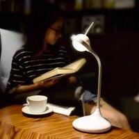 Modern Desk Lamp Touch Charging Rabbit Ears Reading Book Lamp White Pink Blue Bend Desk Lighting