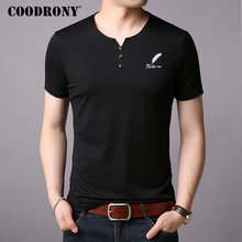 COODRONY Cotton T Shirt Men Short Sleeve T-Shirt Spring Summer Street Wear Casual Button Henry Collar Tee Homme S95007