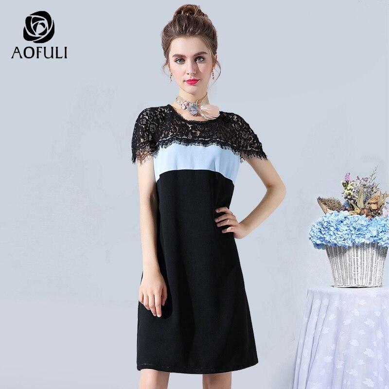 Women's Clothing Diligent Aofuli L Xxxl 4xl 5xl Fashion Tassel Lace Up Patchwork Dress For Summer 2018 Big Size Lady Blue Black Short Sundress 12011 To Win A High Admiration