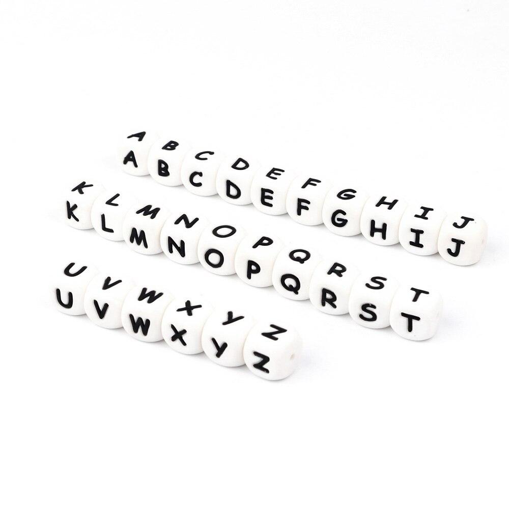 Tyry. hu bebê silicone carta mastigar contas 26 alfabeto 100pc pingente jóias fazendo diy para dentição colar bpa livre grau alimentício