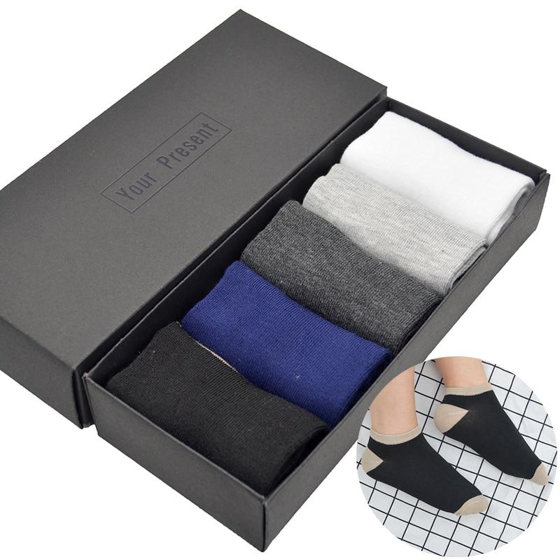 5 Pair/set Patchwork Cotton Men Casual Socks Black/White/Blue/Dark Grey/Light Grey Mens Summer Short Ankle Socks with Gift Box
