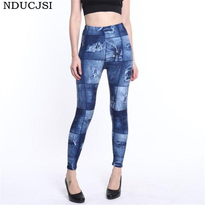 Nducjsi Sexy Printed Legging Summer Women Leggings Faux Denim Jeans Legging Casual Pencil Pants Free Size High Waist Pants New