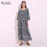 ZANZEA Vintage Women Loose Cotton Linen Floral Print Pockets Maxi Long Dress Retro Half Sleeve Straight