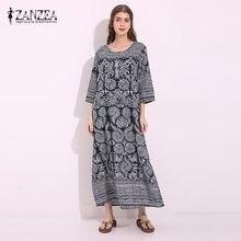 ZANZEA Vintage Women Loose Cotton Linen Floral Print Pockets Maxi Long  Dress Retro Half Sleeve Straight Shift Dress Kaftan Tunic 8fac64c662d4