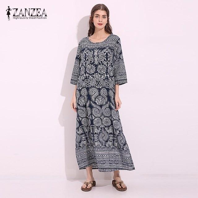 f1b47e8190 ZANZEA Vintage Women Loose Cotton Linen Floral Print Pockets Maxi Long  Dress Retro Half Sleeve Straight Shift Dress Kaftan Tunic