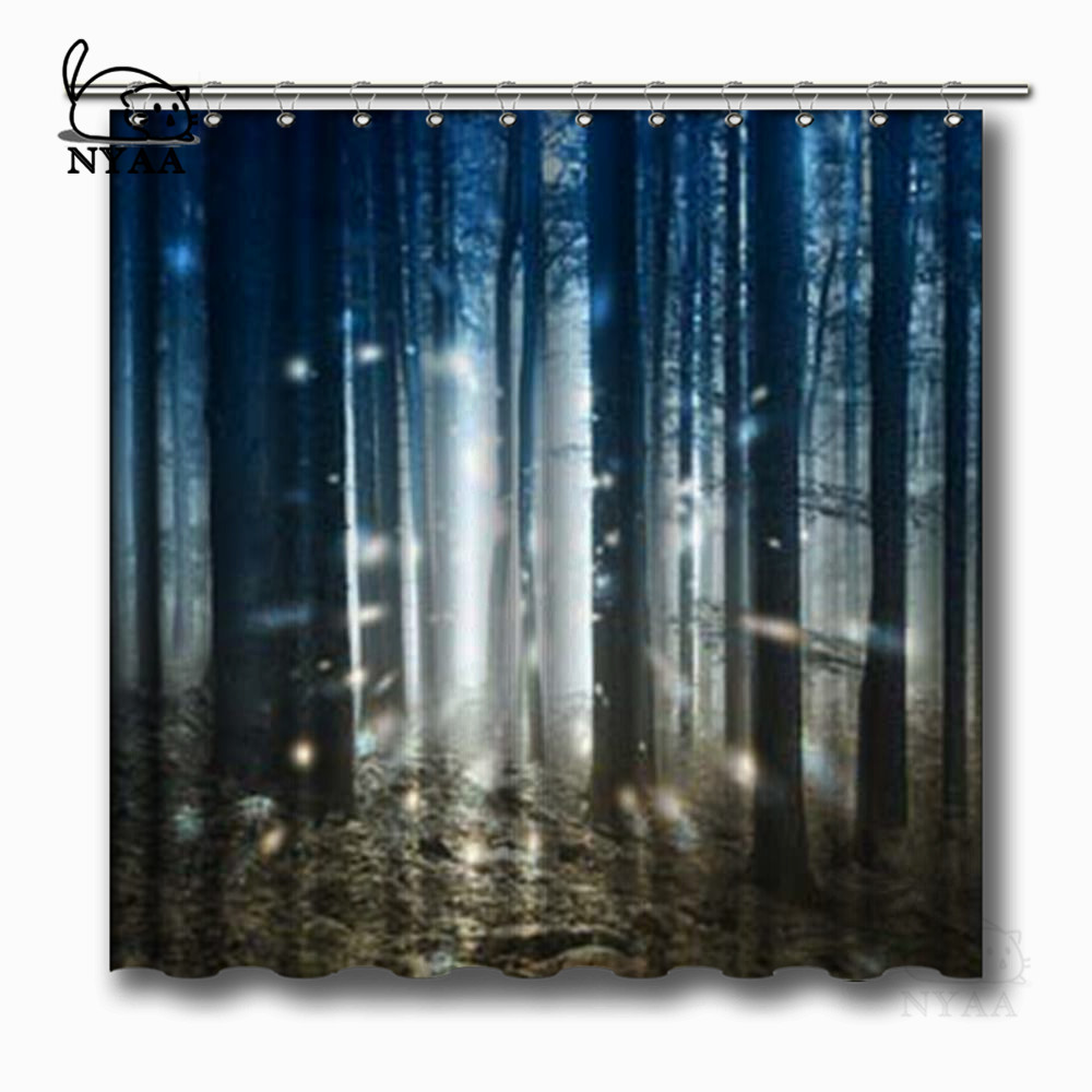 NYAA Fantasy Firefly Lights In The Magic Fairy Tale Foggy Forest Shower Curtains Polyester Fabric For Home Decor From