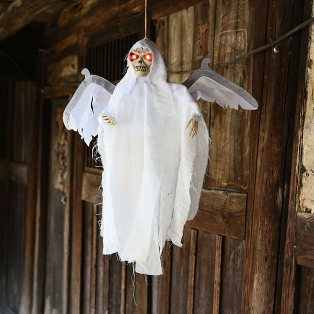 Horror Hanging Bat Flying Ghost Decor Sound Control Haunted House Bar With Light Party Ornaments Supplies White