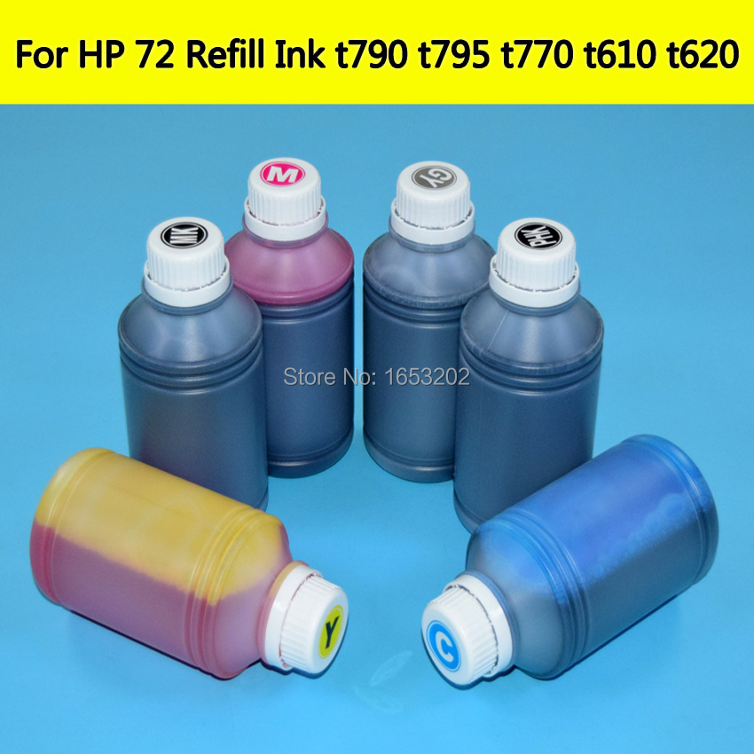 C9403A 72 Refill Dye Ink kit For HP 72 Cartridge Printing Bulk Ink For HP T790 T610 T620 T770 T795 T1200T T1300 T2300 BMKJ formatter board cn727 67035 cn727 60115 for designjet t790 t795 t1300 t2300 t790ps t795ps t1300ps main board plotter ink parts