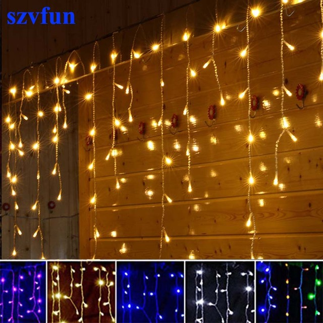 Szvfun christmas lights outdoor led curtain icicle string lights szvfun christmas lights outdoor led curtain icicle string lights 220v flasher 45m garland light wedding aloadofball Image collections