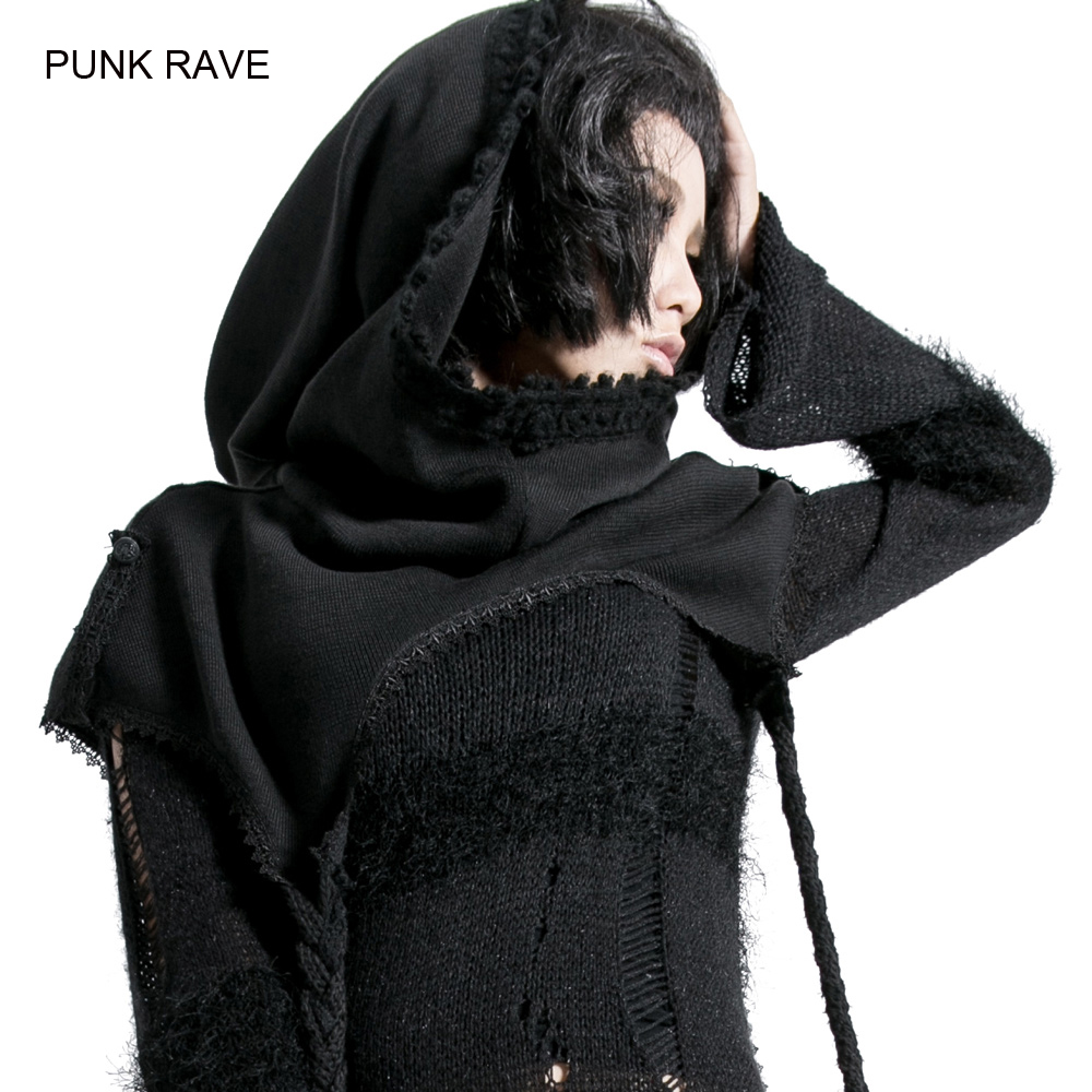 2015 Punk Rave Gothic Mori girl Visual kei Black Scarf Hat wrap Knit MUFFLE KERA Top Free size girl