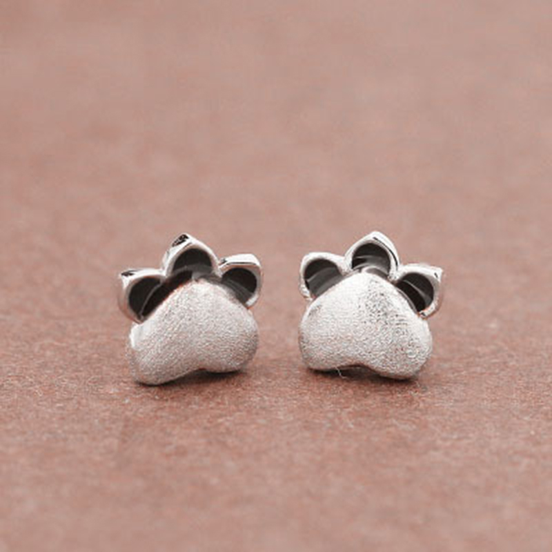 New Arrival 925 Sterling Silver Cute Footprints Stud Earring for Women Lovely Cat Earrings Fashion Jewelry