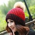 new faux mink pom poms wool rabbit fur knitted hat Skullies winter hat for women girls hat feminino beanies gorros