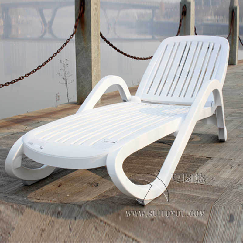 Plastic White color Outdoor furniture beach chair lounger for swimming pool Patio furniture to sea port by sea modern design white holiday leisure sofa chair rattan sea beach swing pool gardern furniture wicket 1 table 4 chair garden set