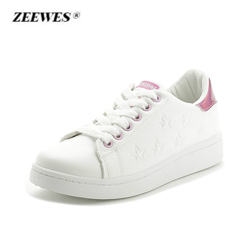 Female Casual Shoes White Leather Canvas Womens Shoes 2018 Fashion Flat shoes Designer Sneakers for Woman Zapatos de mujer