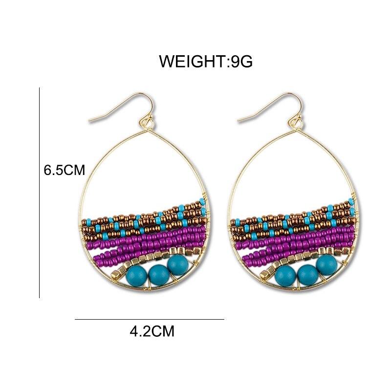 WNGMNGL Handmade Summer Beach Drop Earrings Bohemia Beaded Long Dangle Earrings For Women 2018 New Charm Fashion Pendant Jewelry in Drop Earrings from Jewelry Accessories
