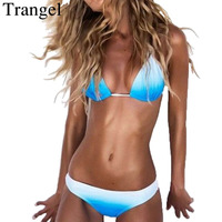 Ropa De Bano Mujer 2015 Sexy Woman Triangle Bikini Set Beachwear Contrast Color Push Up Swimwear