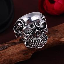 NBSAMENG 2017 Punk Vintage Trend Men's Ring Gothic Men Skull Flower Biker Zinc Alloy Ring Man Fashion Rings Free Shipping sa977