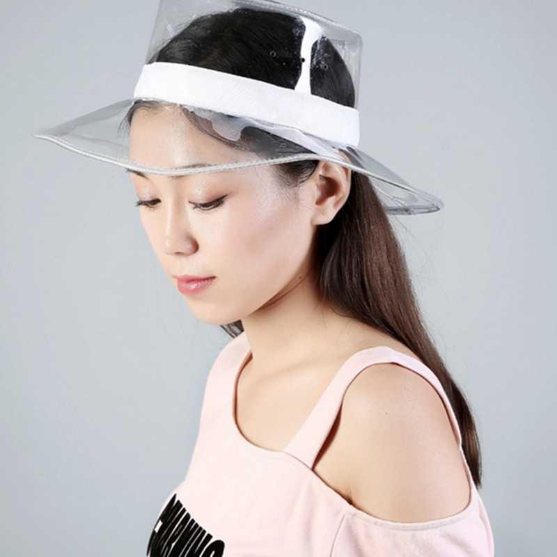 d7f83c313 ... 2019 New Trend Bucket Hat Caps Women 2019 Summer Beach Hat PVC  Transparent Sun Visor Waterproof ...