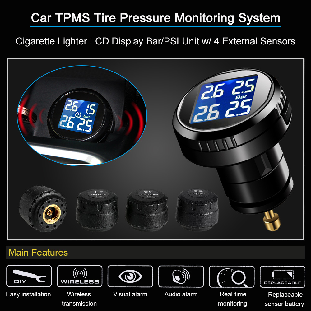 Car TPMS Tire Pressure Monitoring System Cigarette Lighter LCD Display Bar/PSI Unit w/ 4 External Sensors wireless solar car tpms tire pressure monitoring system with 4 internal sensors bar psi unit