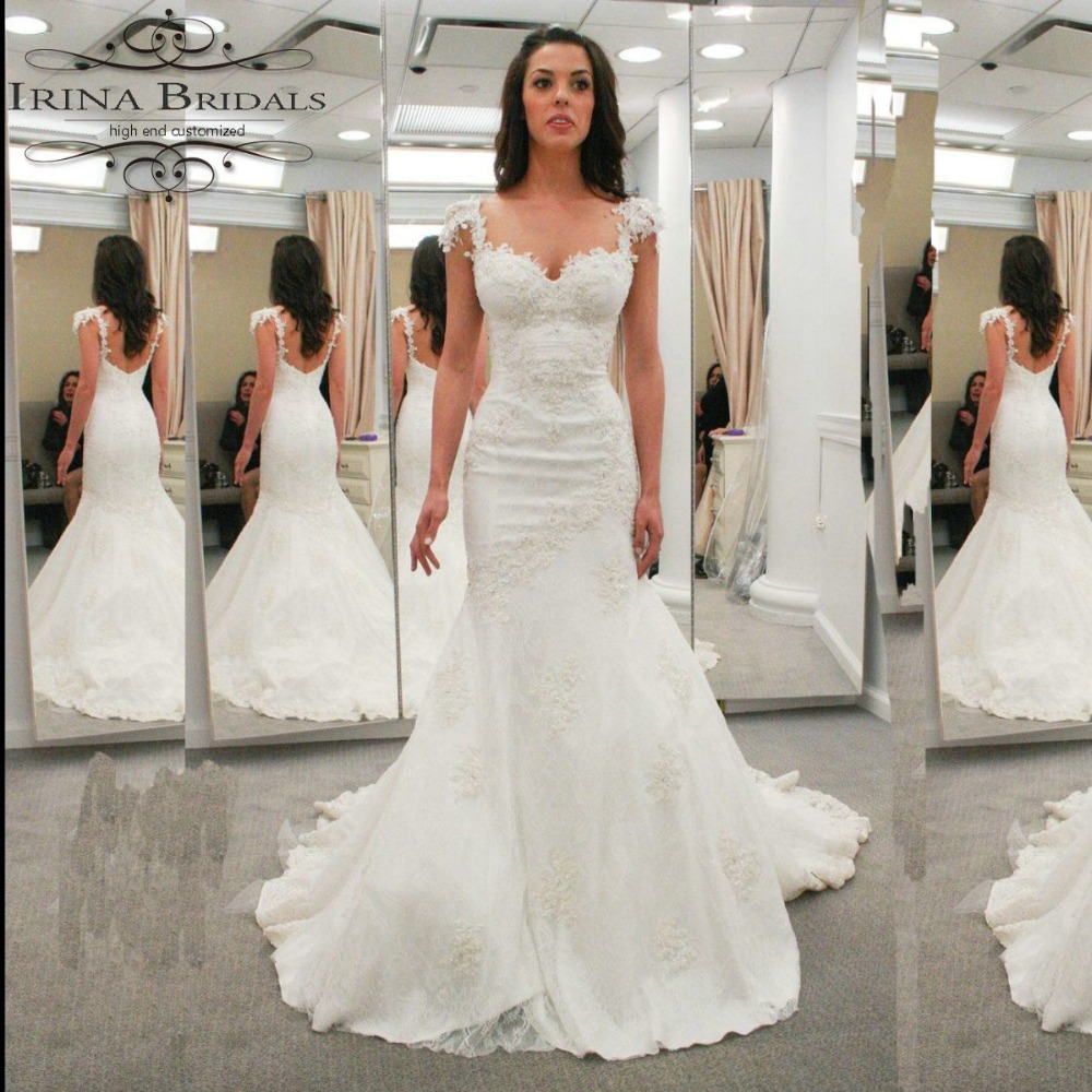 Spaghetti Strap Lace Mermaid Wedding Gowns: High Quality Spaghetti Straps Lace Appliqued Sequin
