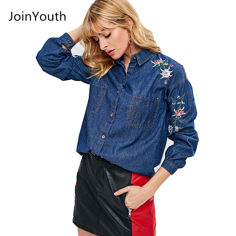 109bd015e0 JoinYouth Women Flower Embroidery Denim Shirts Pockets Long Sleeve  Turn-down Collar Blouse Female Casual