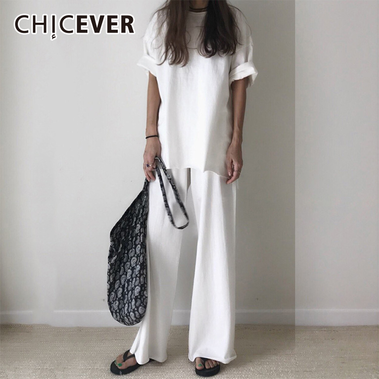 CHICEVER 2020 Summer Two Pieces Set Women Suit Short Sleeve Split T Shirts Top With Elastic Waist Loose Big Size Flare Pants New