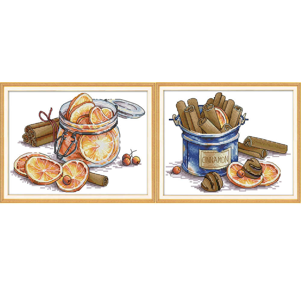 NKF Lemon&Cinnamon Stamped Cross Stitch Kits Embroidery Needlework Set 11CT 14CT Chinese Cross Stitch Pattern for Home Decor