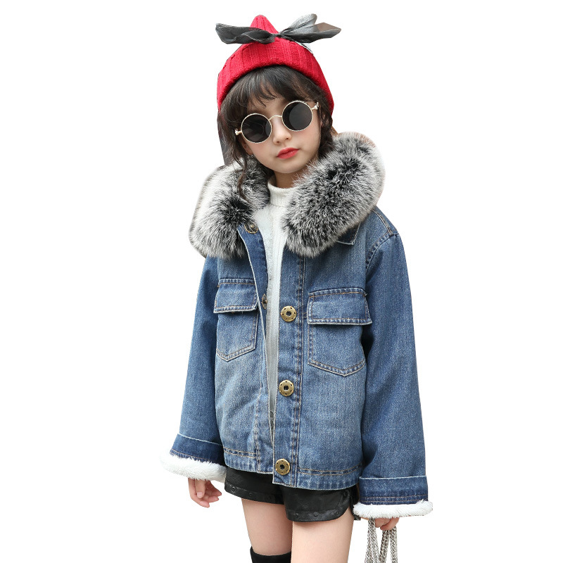 fashion thicken warm girl jeans coat kids clothes single breasted girls denim jackets turn down collar children winter outwear faux fur turn down collar single breasted pu leather spliced woolen coat