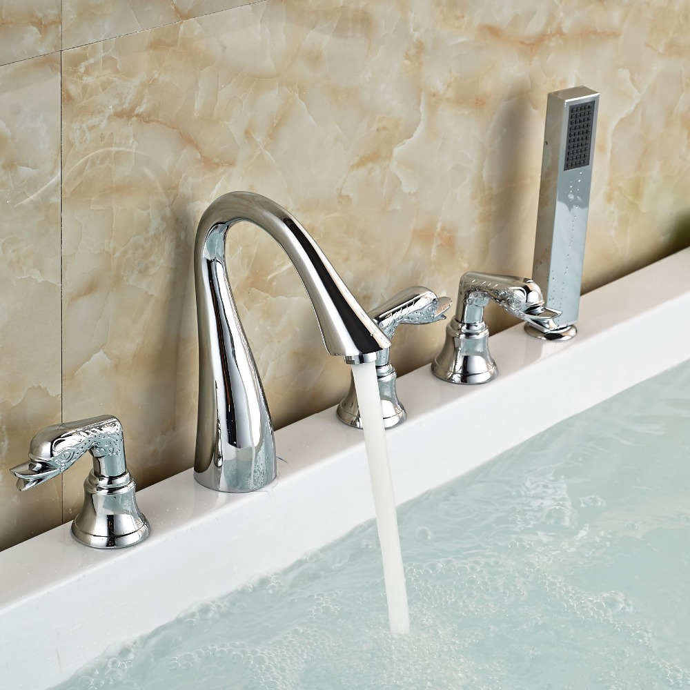 Bathtub Mixer Faucet Set Widespread Tub Shower Faucet With