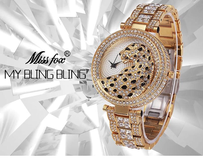 Miss Fox Women's Watch 2019 Top Brand Luxury Bling Ladies Golden Leopard Watches Crystal Diamond Watch Female Relogio Feminino (2)
