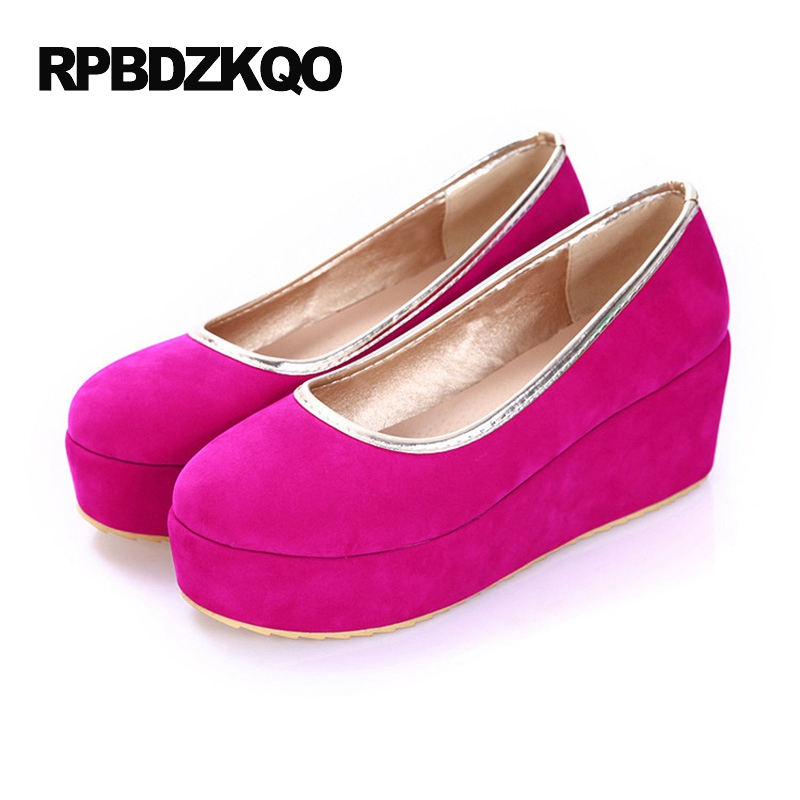 Suede Thick Sole Size 43 Round Toe Women Slip On Comfortable Creepers Platform Shoes 10 Peach 2017 Muffin Ladies Flats Elevator concise lofers for women spring women flats elastic band round toe flats size 34 43 flat sole platform shoes 2016 women shoes