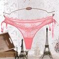 Bonita do laço rosa das meninas sexy underwear mulheres tanga de malha transparente ver através hipster com arco