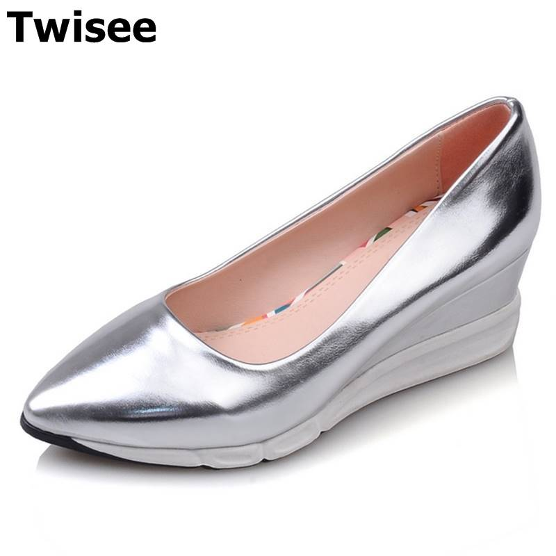 TWISEE gold silver pink fashion single casual high heels platform shoes pump women pu leather wedge shoes woman zapatos mujer bling patent leather oxfords 2017 wedges gold silver platform shoes woman casual creepers pink high heels high quality hds59
