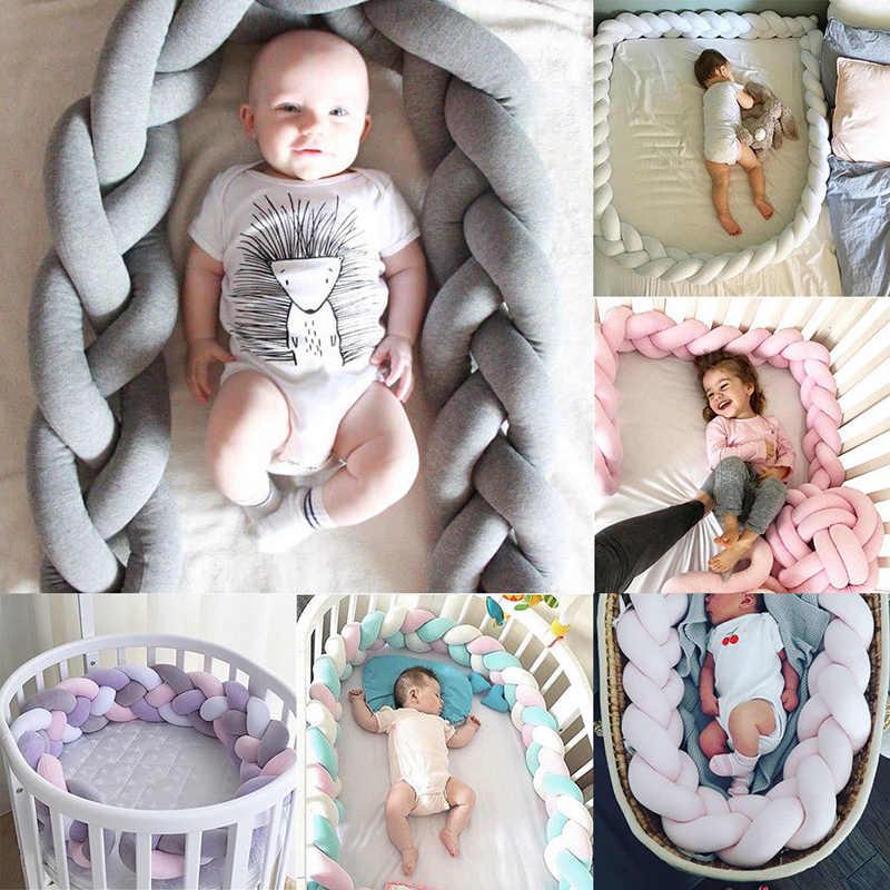 CANIS nuevo dulce bebé colorido de felpa parachoques cama cuna trenza almohada Protector de cojín 1 M