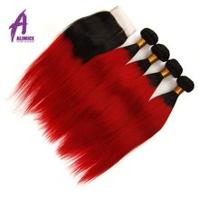 Ombre Brazilian Straight Hair 2 3 4 Bundles With Lace Closure T1B/red Alimice Remy Hair Weaves Human Hair Bundles With Closure(China)