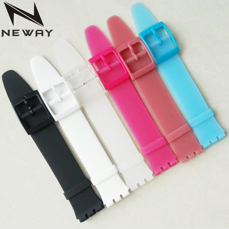 neway Watch accessories for Swatch strap buckle SWATCH silicone watch band 16mm Ultra thin skin rubber strap eache silicone watch band strap replacement watch band can fit for swatch 17mm 19mm men women