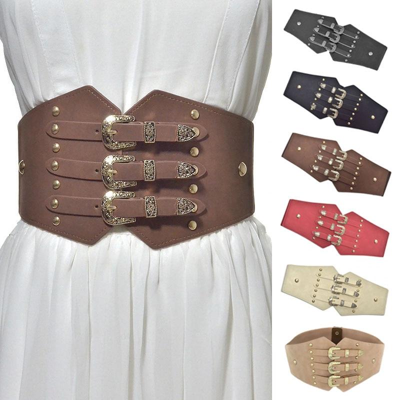 2019 New Fashion Vintage Women Imitation Leather Waist Belts Patterned Buckle Elastic Wide Belt BS88